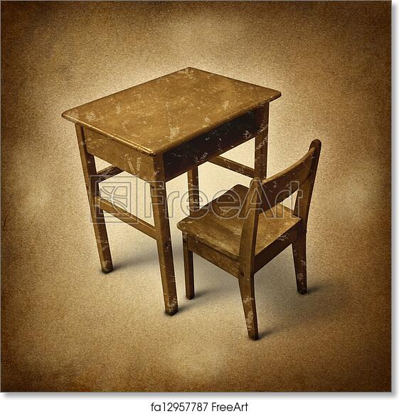Free Art Print Of Old School Old School Desk Symbol Of Education