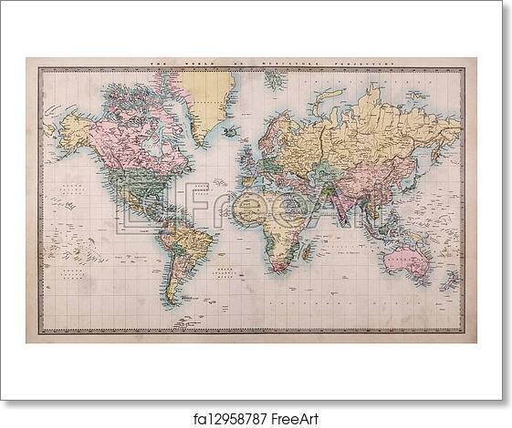 Free Art Print Of Old World Map On Mercators Projection Original - World map please