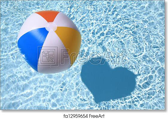 picture about Have a Ball This Summer Printable identify Cost-free artwork print of Summertime delight in, Beach front Ball upon the swimming Pool with center formed shadow
