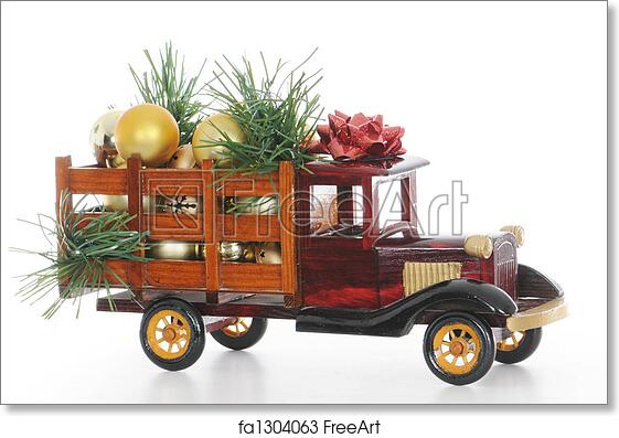 free art print of christmas truck - Christmas Truck Decor