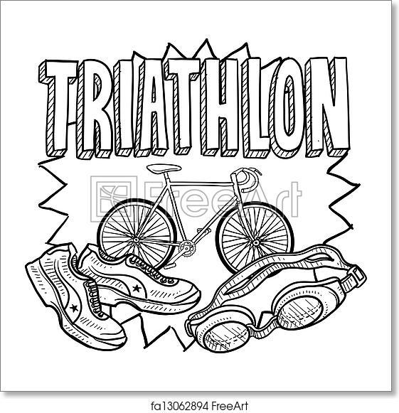 Free art print of Triathlon sketch