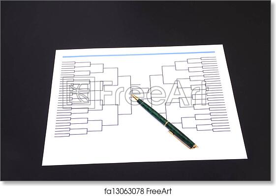 Free art print of March Madness Pen and Blank Tournament Bracket
