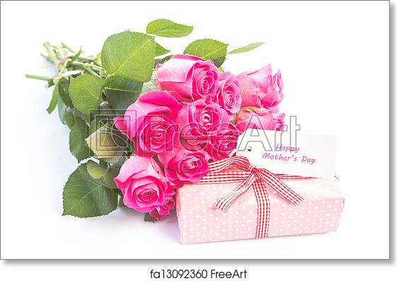 Free Art Print Of Bouquet Pink Roses Next To A Gift With Happy Birthday Card
