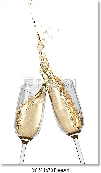 free art print of toasting champagne flutes two champagne glasses