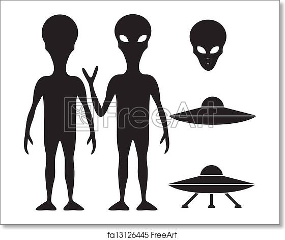 free art print of alien and ufo alien and ufo silhouette set