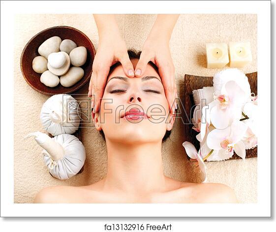 Free Art Print Of Spa Massage Young Woman Getting Facial Massage Freeart Fa13132916