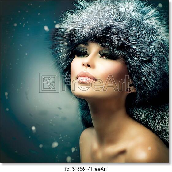 Free Art Print Of Winter Christmas Woman Portrait Beautiful Girl In Fur Hat