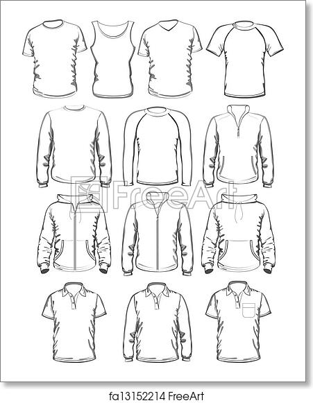 Free art print of Collection of men clothes outline templates