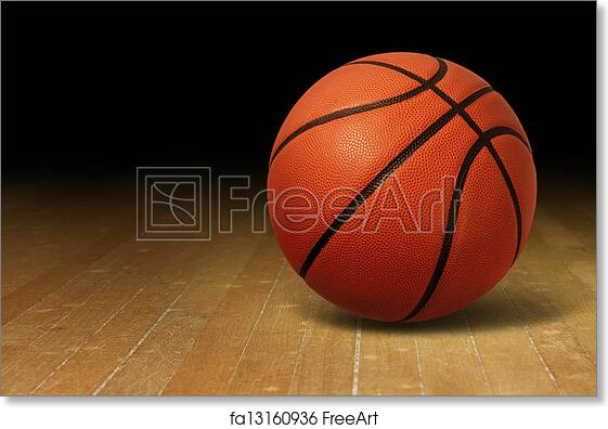 Free Art Print Of Basketball On Wood Court Basketball On A Hardwood