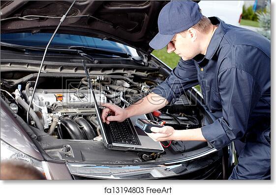 Free Art Print Of Car Mechanic Working In Auto Repair Service