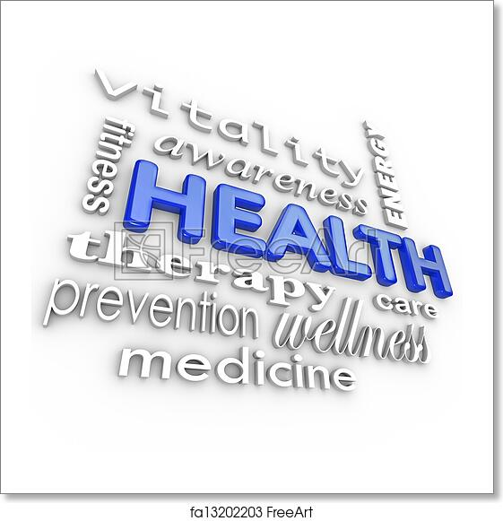 free art print of health care collage words medicine background the