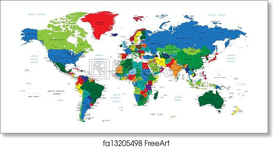 Free Art Print Of World Map Countries Detailed World Map With