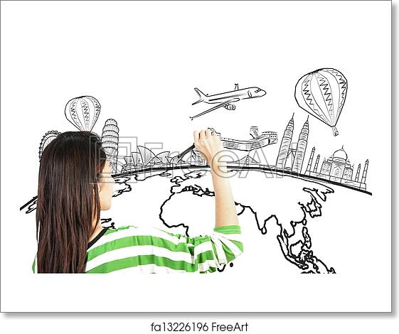 Free Art Print Of Asian Woman Drawing Or Writing Dream Travel Around The World