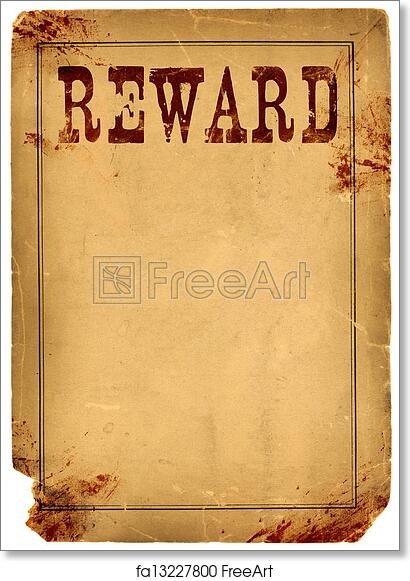 free art print of blood stained reward poster 1800s wild west