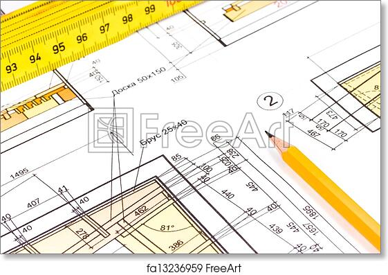 Free art print of house construction plan pencil and ruler on free art print of house construction plan malvernweather Images