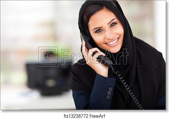 Free Art Print Of Muslim Businesswoman Talking On Phone