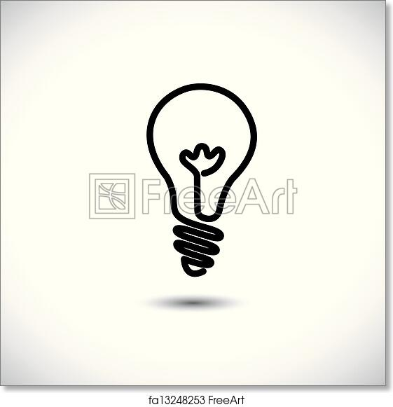 Free Art Print Of Incandescent Simple Black Line Light Bulb Icon