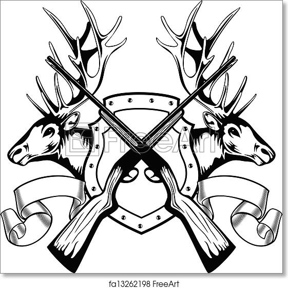 Free Art Print Of Elk Heads And Crossed Rifle Vector Image Board