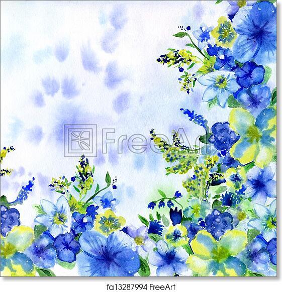 Free art print of watercolor dark blue and yellow flowers on a white free art print of watercolor dark blue and yellow flowers on a white background mightylinksfo