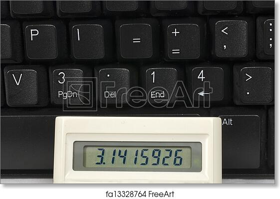 free art print of pi on a keyboard and a calculator the number for