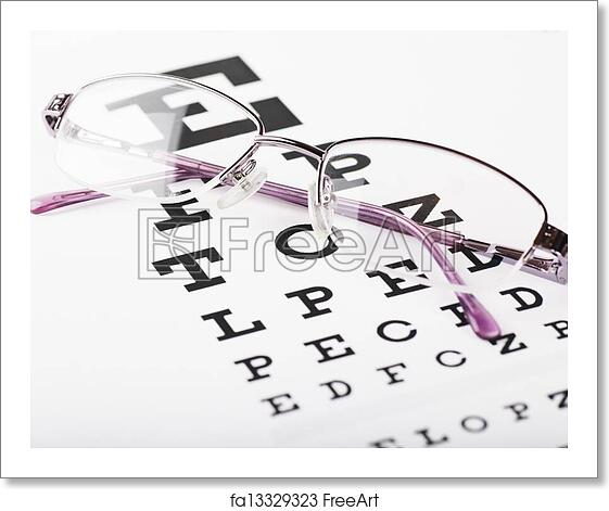 Free Art Print Of Eye Chart Closeup View Of Eyeglasses On A Eye
