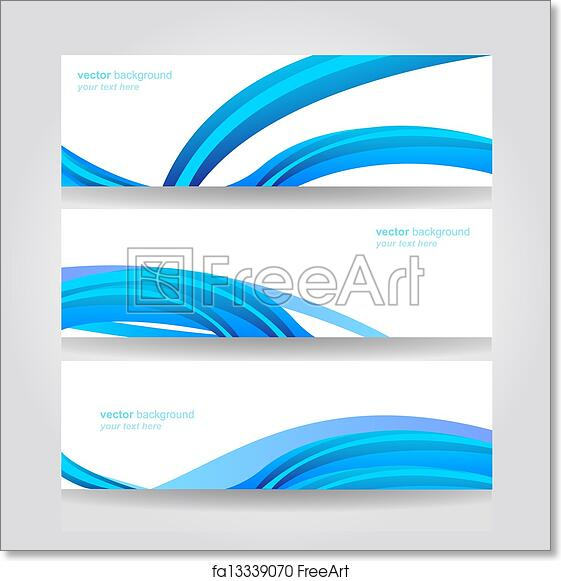 free art print of abstract header blue wave vector website header