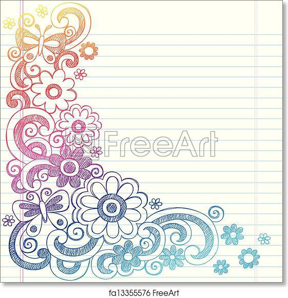 Free art print of Flowers Sketch Doodle Border Vector