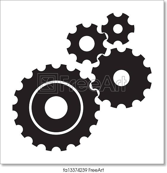 image regarding Printable Gears known as Free of charge artwork print of Black cogs (gears) upon white record
