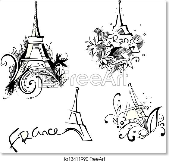 photo relating to Printable Pictures of the Eiffel Tower named Absolutely free artwork print of Sketches with Eiffel Tower