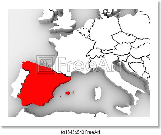 Country Of Spain Map.Free Art Print Of Europe Abstract 3d Map Spain Country Nation The