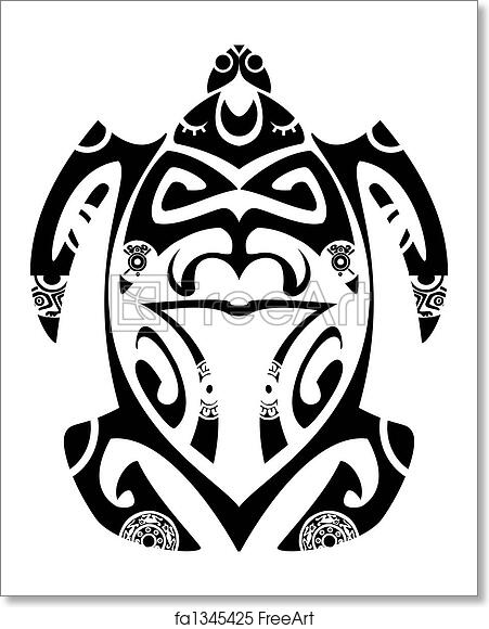ff42f7ac0ea97 Black and white vector illustration - Maori tribal turtle - Easy to edit