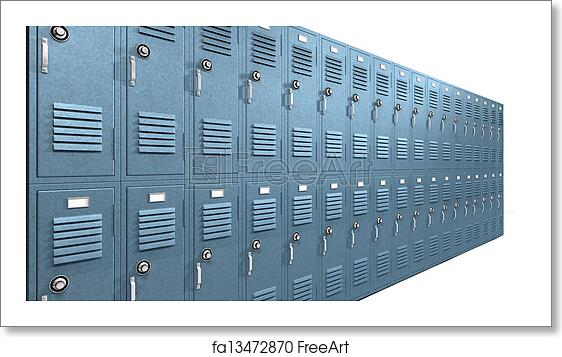 Free Art Print Of Blue School Lockers Perspective A Perspective View Of A Stack Of Blue Metal School Lockers With Combination Locks And Doors Shut On An Isolated Background Freeart Fa13472870