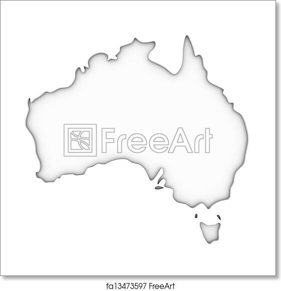 Australia Map Black And White.Free Art Print Of Australia Map