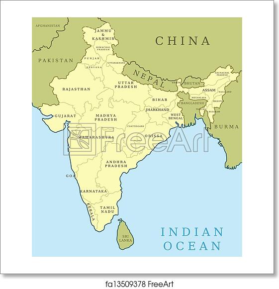 Free art print of India states. Map of India. Outline illustration ...