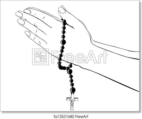 Free Art Print Of Hands With A Rosary Drawing Hands With A Rosary
