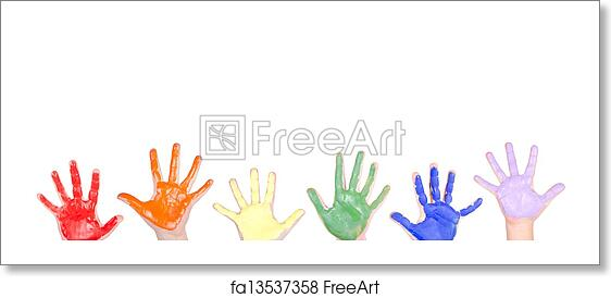 free art print of painted hands for a border childrens hands