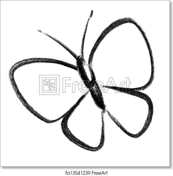 free art print of butterfly icon crayon sketched illustration of a butterfly freeart fa13541239 free art print of butterfly icon