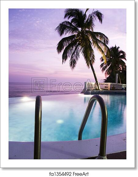Free art print of Luxury infinity swimming pool caribbean sunset