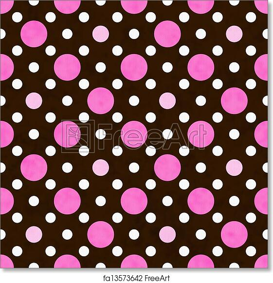 Free Art Print Of Pink White And Brown Polka Dot Fabric Background