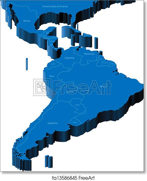 Free Art Print Of 3d Map Of Latin America Map Of Latin America With