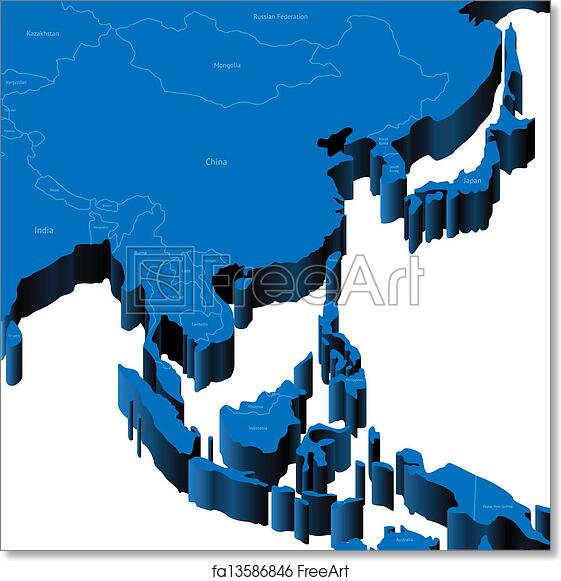 Map Of Asia 3d.Free Art Print Of 3d Map Of South East Asia