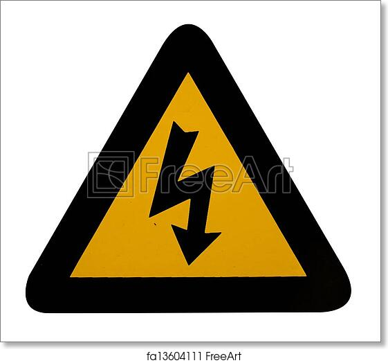 picture relating to Free Printable Warning Signs identify Free of charge artwork print of Electric powered threat caution indication