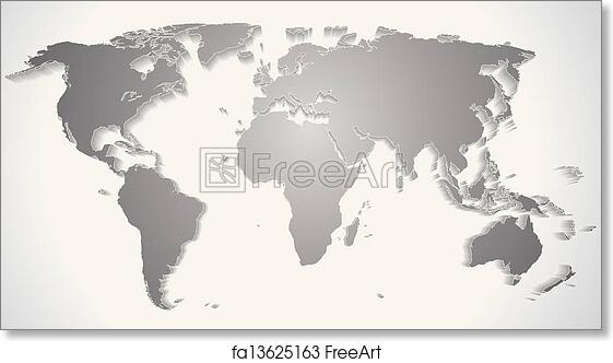 Map Of World Silhouette.Free Art Print Of 3d World Map Silhouette Vector Graphics Freeart