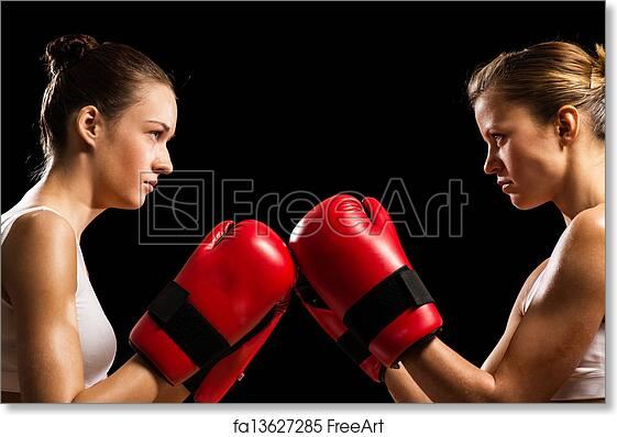 0652cb161 Free art print of Confrontation between the two women boxers. Two female  boxers face each other, pushing the boxing gloves, start a fight | FreeArt  | ...
