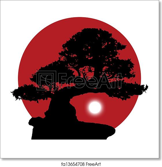 Free Art Print Of Silhouette Of A Bonsai On A Red Sun Background Black Silhouette Of A Bonsai With A Rising White Moon On A Red Sun Background Freeart Fa13654708
