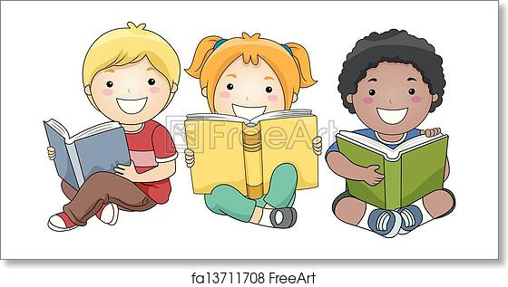 Free Art Print Of Children Reading Books