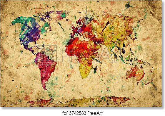 Vintage World Map Art.Free Art Print Of Vintage World Map Colorful Paint Watercolor