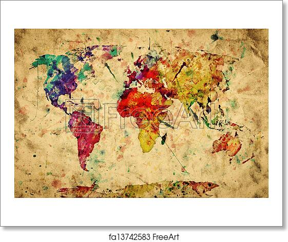 Free Art Print Of Vintage World Map Colorful Paint