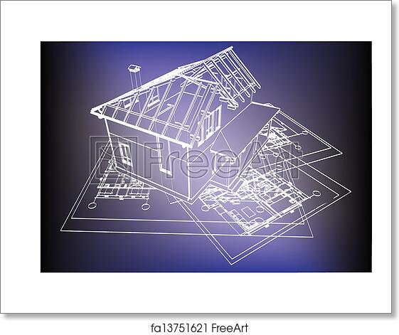 Free art print of wireframe building over blueprint eps 8 vector free art print of wireframe building over blueprint malvernweather Choice Image