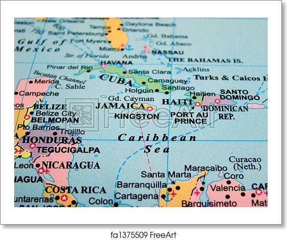 Free art print of Map of the Caribbean Sea. Map of the Caribbean Sea ...